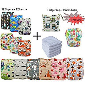 Baby Cloth Diapers One Size Adjustable Washable Reusable for Baby Girls and Boys 12pcs with 12 inserts (Color-3)