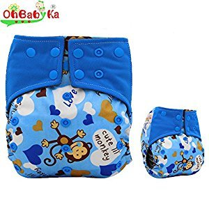 Baby Waterproof All-in-2 Charcoal Bamboo Cloth Diaper Nappies, blue monkey by Ohbabyka