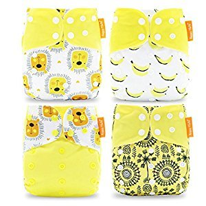 Happy Flute Pocket Cloth Diapers Reusable Washable Adjustable One Size for Baby Boys and Girls 4 Pieces with 8 Inserts (brown)
