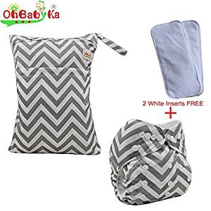 OHBABYKA Baby Cloth Reusable Nappy Diapers,Fit Inserts, A Wet and Dry Waterproof Bag