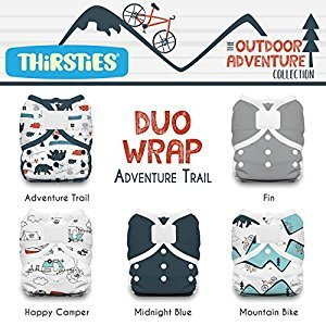 Thirsties TDWPHLOACAT1 Package Duo Wrap Hook & Loop Outdoor Adventure Collection, Adventure Trail,  Size One (6-18-pound)