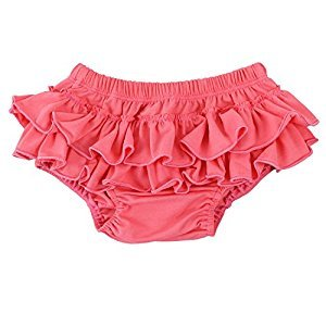 Wennikids Baby Girls' Soft Cotton Ruffle Diaper Cover Bloomers Large Watermelon Red