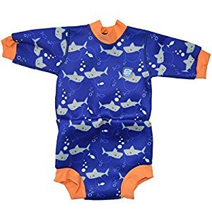 Splash About Baby Happy Nappy Wetsuit- 2 in 1 Baby Wetsuit and Diaper (XX Large 24+ Months Toddler, Shark Orange)