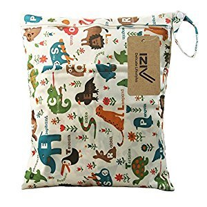 iZiv(TM) Baby Waterproof Reusable Wet and Dry Baby Diaper Bag Organizer Pouch Double Zipper Printing Diaper Bag(Animals)