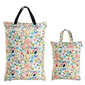 Teamoy (2 Pack) Travel Hanging Wet Dry Bag for Cloth Diapers Organizer Tote Bag, Jungle