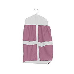 Baby Doll Bedding Solid Stripe Diaper Stacker, Pink/White