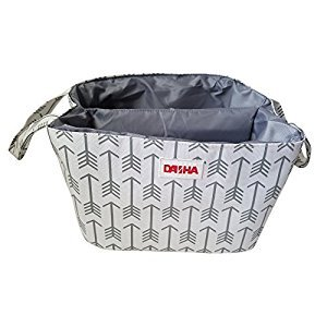 Diaper Storage Caddy By Danha – Portable Diaper Bag And Stacker With Beautiful White Gray Arrow Unisex Design – Changing Table Storage Basket And Nappy Caddy