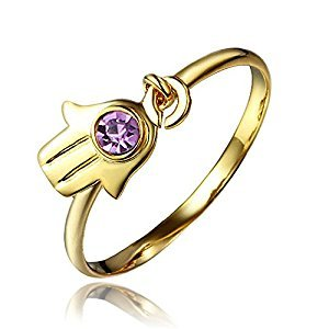 Hamsa Hand Amethyst Promise Ring 18K Gold For Women Size 6, Size in US 6-9