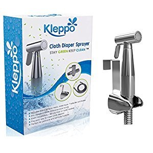 Kleppo Cloth Diaper Toilet Sprayer Kit - Premium Brass Chrome Hand Held Bidet Shattaf, Metal Hose, T-Valve (7/8 inch), and Mounting Clip Attachment Adapter