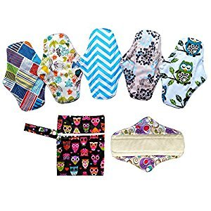 7PCS Pack 6PCS 10 Inch Regular Reusable Washable Bamboo Cloth Mama Menstrual Sanitary Pad+1PC Mini Wet Bag