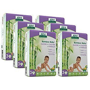 Aleva Naturals Bamboo Baby Diapers Economy Pack, Size 3, (13-24 lbs / 6-11 kgs) 168 Count