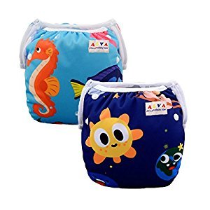 Alva Baby 2pcs Pack One Size Reuseable Washable Printed and Positioning Swim Diapers SWD23-24-CA