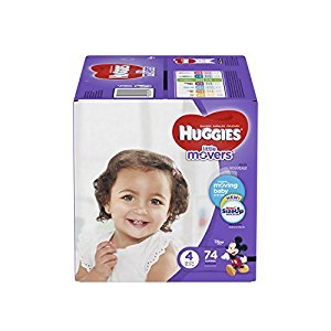 HUGGIES LITTLE MOVERS, Baby Diapers, Size 4,  74ct