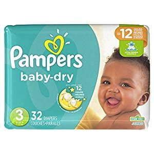 Pampers Baby Dry Disposable Diapers Size 3, Jumbo Pack, 32 Count (Packaging May Vary)