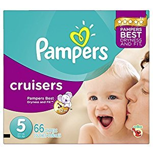 Pampers Cruisers Disposable Baby Diapers Size 5, Super Pack, 66 Count (Packaging May Vary)
