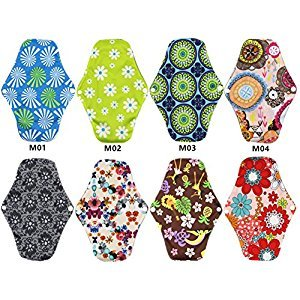 Wellwear Bamboo Reusable Sanitary Pads / Panty Liners/ Menstrual Pads / Sanitary Napkins (8 Pack)
