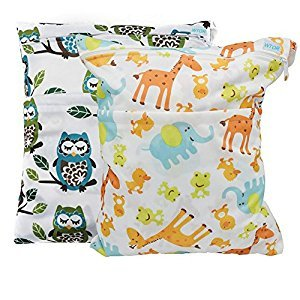 WTOR 2 pcs Baby Wet and Dry Cloth Diaper Bags/Diaper Storage bag/Pouch Waterproof Reusable with Two Zippered Pockets for Travel (Giraffe and Owls)
