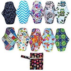 10PCS 10 Inch Regular Reusable Washable Bamboo Cloth Mama Menstrual Sanitary Pad+1PC Wet Bag