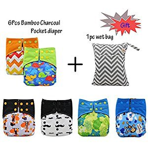 Baby Washable Reusable All In Two Adjustable Cloth Nappy Diapers Cover One Size Double Gusset 6Pcs (Multicolor)