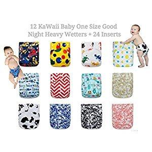 BEST OVERNIGHT! 12 KaWaii Baby Goodnight Heavy Wetter OS Cloth Diapers + 24 Large Inserts