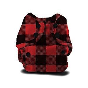 Buttons Cloth Diaper Cover - Newborn Snap (7-12lbs) (Lumberjack)