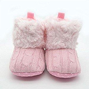 Itaar Infant Baby Newborn 6-12 Months Warm Winter Crochet Bootie Crib Shoes Pink