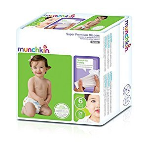 Munchkin Super Premium Diapers, Size 6/XX-Large Ultra (35 Plus Pounds), 84 Count