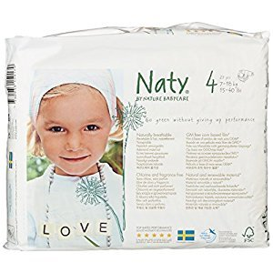 Naty by Nature Babycare Eco-Friendly Diapers, Size 4, 4 packs of 27 (108 Count)