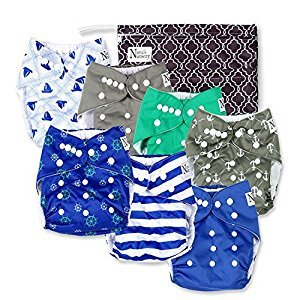 Nora's Nursery - Nautical Baby Cloth Pocket Diapers 7 Pack, 7 Bamboo Inserts, & Wet Bag