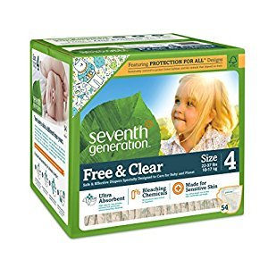Seventh Generation Free and Clear Sensitive Skin Baby Diapers with Animal Prints, Stage 4, 54 Count