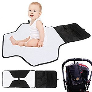 IntiPal Portable Baby Diaper Changing Pad Mat Bag With Storage Pockets Waterproof Travel Diaper Changing Station Kit (Black)
