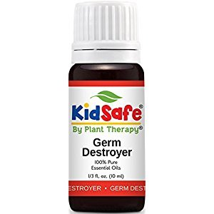 KidSafe Germ Destroyer Synergy Essential Oil Blend. 10 ml (1/3 oz). 100% Pure, Undiluted, Therapeutic Grade. (Blend of: Spruce, Marjoram, Lavender, Rosalina and Lemon.)