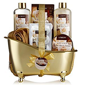 Home Spa Gift Basket, Luxurious 11 Piece Bath & Body Set For Men&Women, White Rose & Jasmine Scent- Contains Shower Gel, Bubble Bath, Body Scrub, Bath Salt, 4 Bath Bombs, Pouf, Cosmetic Bag & Gold Tub …
