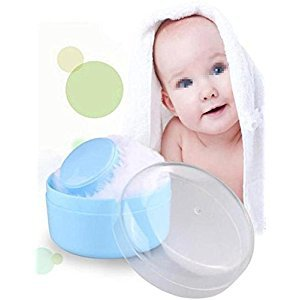 1 PC Baby After-Bath Soft Villus Powder Puff Box Container Empty Box Portable Automatic Powder Storage Baby Powder Cartridge Newborn Cartridge Mini-Blue