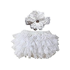 EQLEF® Soft Cotton Cute Lace Ruffle Bloomers Diaper Covers With Flower Headband For Baby (White)