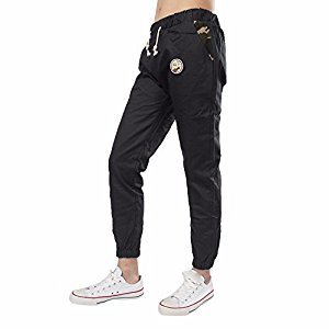 Jogger Sweatpants Hosamtel Men Slim Elastic Waist Badge Harem Trousers Sportwear (Black, M)