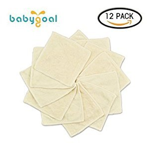 Babygoal Bamboo Baby Wipes, Washable Reuseable Saliva Towel Wipes, 12.5cmx12.5cm, Pack of 12pcs Cloth Wipes 12bw01f