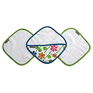 JJ Cole Washcloth Summer Garden & Bath Mitt Set, Pink/Green/Blue/Yellow/White/Orange