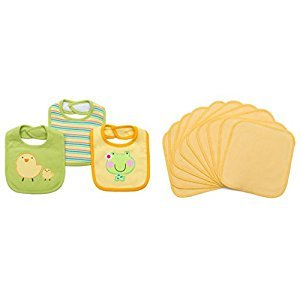 KaWaii Baby 10/pack Bamboo Wipes+3 Cotton Bibs Great Gift Gender Neutral