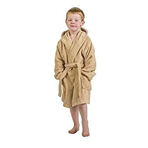 Superior Collection 100% Premium Long-Staple Combed Cotton Hooded Terry Bath Robe for Kids, Small/Medium, Taupe