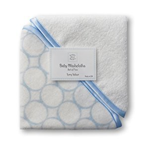 SwaddleDesigns Organic Cotton Baby Washcloths, Mod Circles (Set of 2 in Pastel Blue)