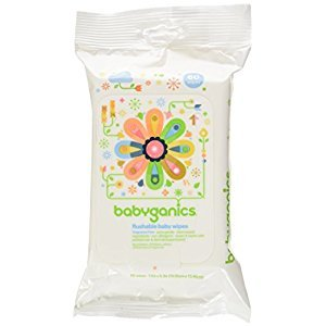 Babyganics Flushable Baby Wipes, Fragrance Free, 60-Count-Packaging May Vary (Pack of 3, 180 Total Wipes)