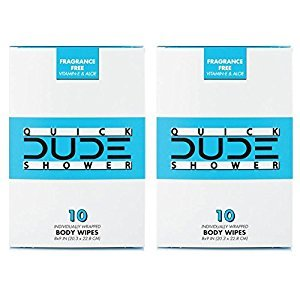 DUDE Shower Body Wipes, Wet Wipes Individually Wrapped for Travel, Unscented, Naturally Soothing Aloe and Hypoallergenic (2 Packs, 20 Wipes)
