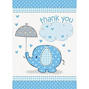 Blue Elephant Baby Shower Thank You Note Cards, 8ct