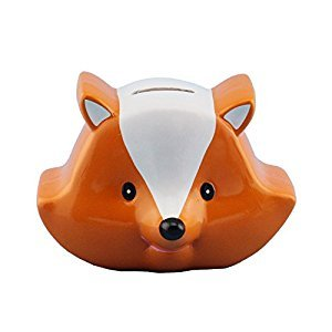 Ceramic Fox Coin Bank in Orange and White