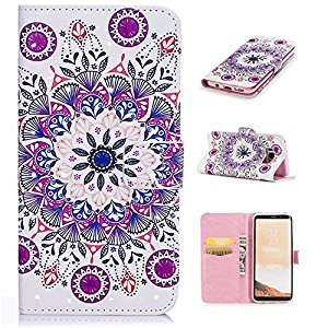 Galaxy S8 3D Phone Case,Samsung Galaxy S8 Case with Fold Stand Feature,Gostyle Premium PU Leather Wallet Mandala Flower Painted Pattern Magnetic Flip Cover with Card Slots.
