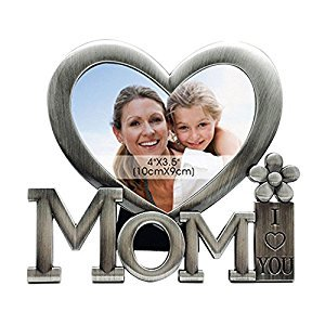 Gosear Mom I Love You Metal Picture Photo Frame Heart Shaped Photo Frame for Mothers Day Birthday Gifts Silver