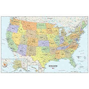 Wall Pops WPE99073 Peel and Stick USA Dry-Erase Map with Marker
