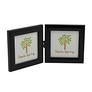 4x4 Folding Double Photo Frame In Black - Standing