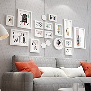 ALUS- Solid Wood Wall Photo Frames Mordern Home Decoration Hanging Wall Photo Wall,SET Of 15 Collage Frames ( Color : White )